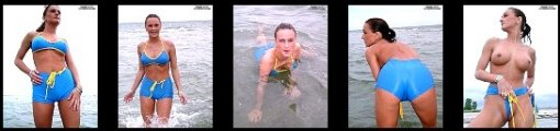 Blue Wet Bikini at the public Beach Wet tight sexy and nude Outdoor model casting pics