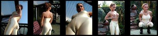 Golden lycra/spandex full bodysuit at the pool area + full nude Monster cameltoe master of spandex