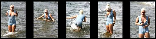 Transparent wet lycra at the beach + full nude