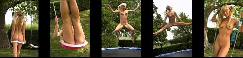 Elise Trampoline Fun in the Garden Jumping in tight shorts + Nude + a Naughty ending