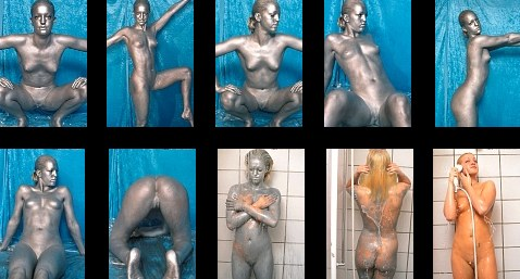 Full body and full face silver bodypaint panties + full nude bald pussy + ending with a shower