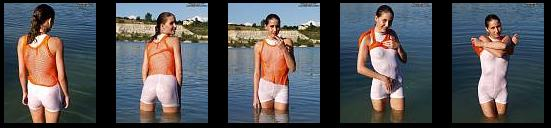 WOW - Laila bathing in Tight transparent