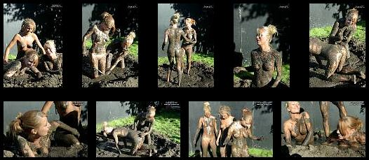 Malou and friends in a sexy mud wrestling scene.
