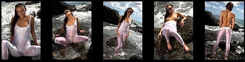 Spanish Spandex Casting Gran Canaria Wet Transparent and Cameltoe-tight  LycraSpandex at the Beach + Nude