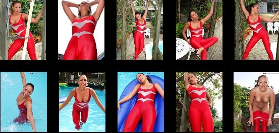 Having poolfun in red and wet spandex bodysuit