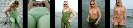 Spandex posing at the public beach. Skin tight spandex suit and nude Nude and huge cameltoe flashing